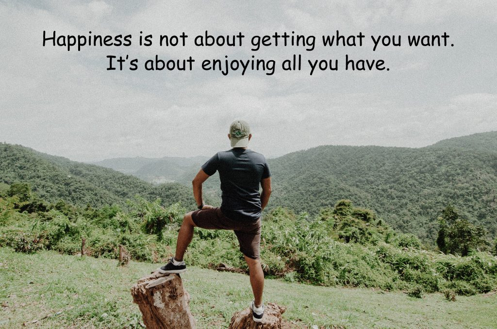 Happiness is not about getting what you want. It's about enjoying all you have.